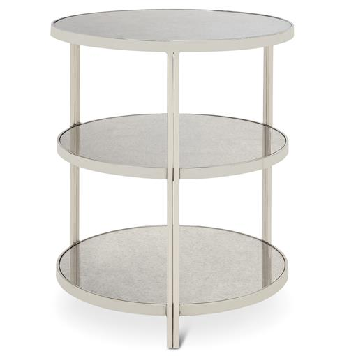 Trilogy Hollywood Regency 3 Tier Nickel Antique Mirror Side Table | Kathy Kuo Home