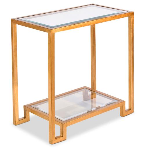 Hutton Hollywood Regency Glass Gold Leaf Side Table | Kathy Kuo Home