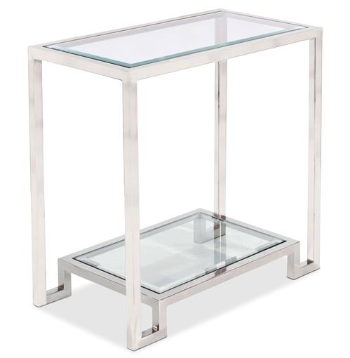 Hutton Hollywood Regency Glass Nickel Side Table | Kathy Kuo Home