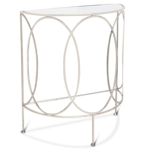 Gibbous Hollywood Regency Demilune Nickel Console Table | Kathy Kuo Home