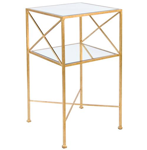 Penelope Hollywood Regency Gold Mirror Side Table | Kathy Kuo Home
