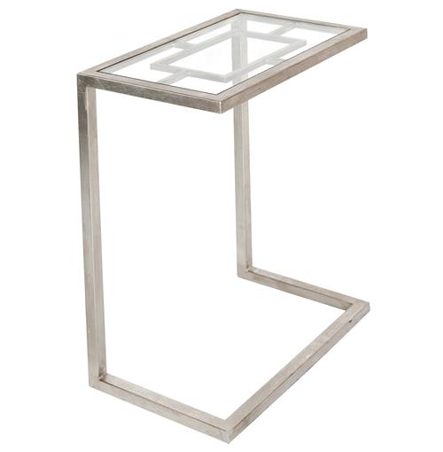 Kennedy Hollywood Regency Silver Glass Side Table | Kathy Kuo Home