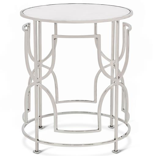 Glenda Hollywood Regency Round Nickel Antique Mirror Side Table | Kathy Kuo Home