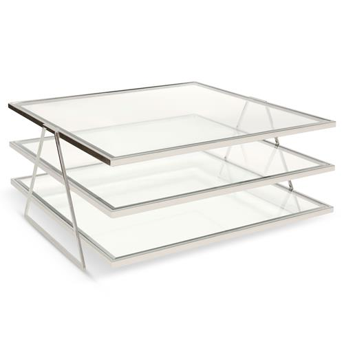 Destiny Hollywood Regency Nickel Glass 3 Tier Coffee Table | Kathy Kuo Home