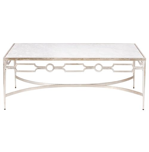 Barre Hollywood Regency Silver White Marble Coffee Table