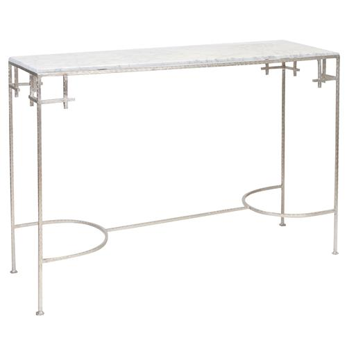Turlington Hollywood Regency White Marble Silver Console Table