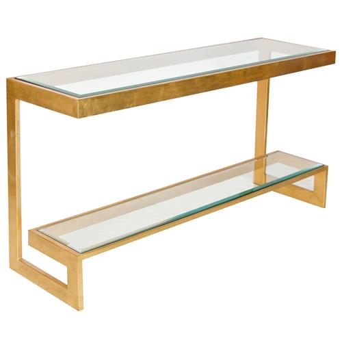 Sandra Hollywood Regency Gold Glass Console Table - 55 Inch | Kathy Kuo Home