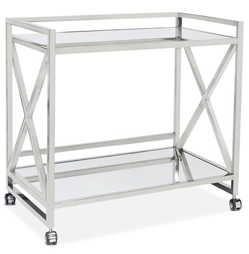 Kerry Hollywood Regency Stainless Steel Mirror Serving Bar Cart | Kathy Kuo Home