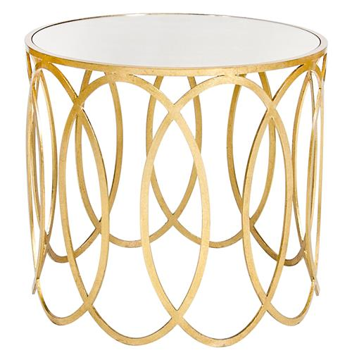 Ovation Hollywood Regency Gold Mirror Side Table | Kathy Kuo Home