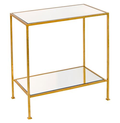 Baldwin Hollywood Regency Gold Mirror 2 Tier Side Table | Kathy Kuo Home