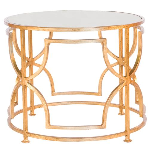 Dedee Hollywood Regency Gold Antique Mirror Side Table | Kathy Kuo Home