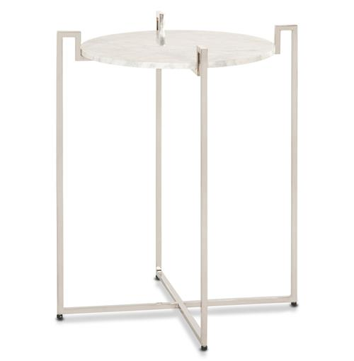 Baxter Hollywood Regency Nickel White Marble Side Table | Kathy Kuo Home
