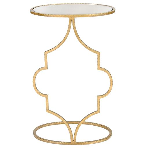 Bellagio Hollywood Regency Gold Mirror Quatrefoil Side Table | Kathy Kuo Home