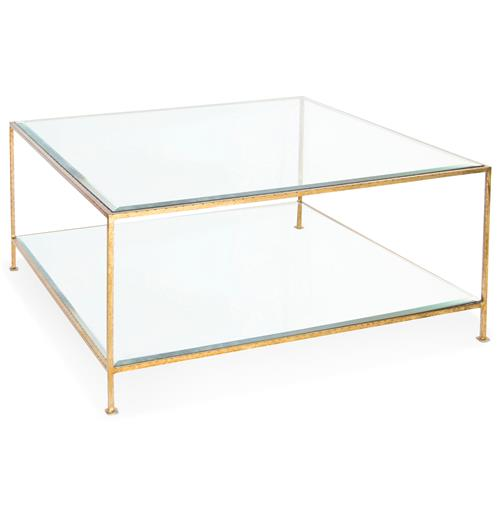 Cabot Hollywood Regency Gold Glass Coffee Table | Kathy Kuo Home