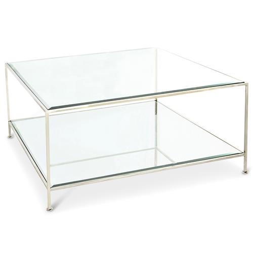 Cabot Hollywood Regency Nickel Glass Coffee Table | Kathy Kuo Home