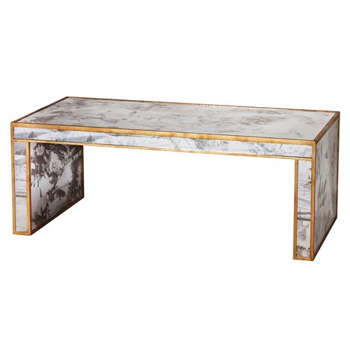 Spencer Hollywood Regency Antique Gold Mirror Coffee Table | Kathy Kuo Home