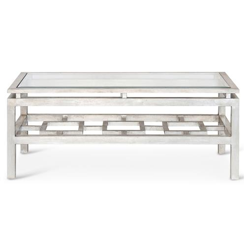 Klee Hollywood Regency Silver Leaf Glass Coffee Table | Kathy Kuo Home