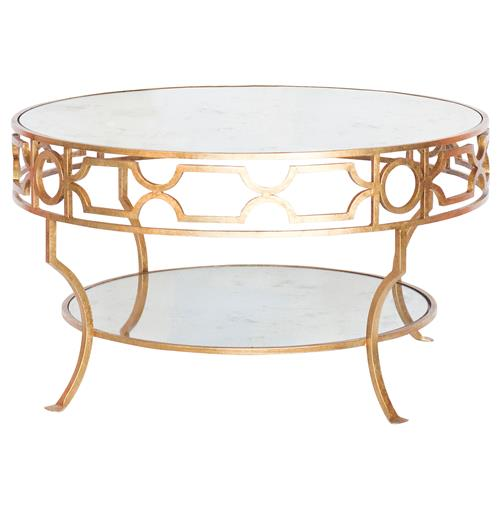 Chastity Hollywood Regency Gold Antique Mirror 2 Tier Side Table | Kathy Kuo Home