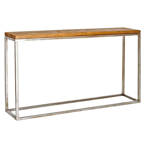 Ozark Industrial Loft Distressed Wood Silver Console Table | Kathy Kuo Home