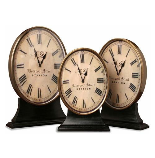 Hammersmith Brass & Wood Desk Clocks- Set of 3 | Kathy Kuo Home