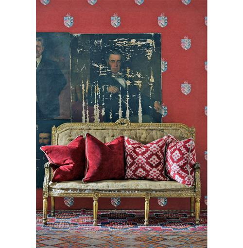 Crest Trellis British Motif Wallpaper - Red - 2 Rolls | Kathy Kuo Home
