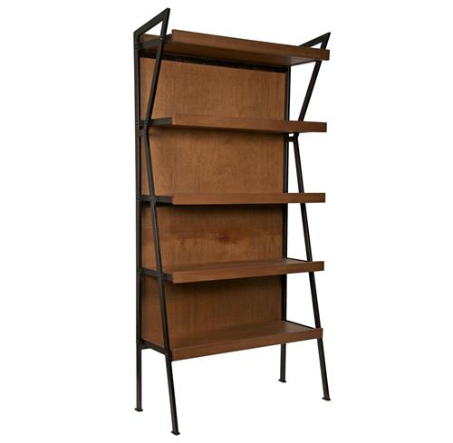 Brennan Industrial Loft Modern Wood Metal Bookcase | Kathy Kuo Home