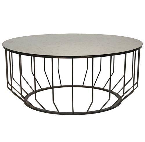 Sandford Industrial Loft Antique Glass Metal Round Coffee Table | Kathy Kuo Home