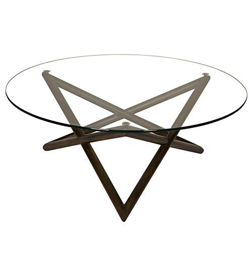 Round Glass And Metal Ilene Coffee Table: Seton Industrial Loft Modern Glass Metal Round Coffee