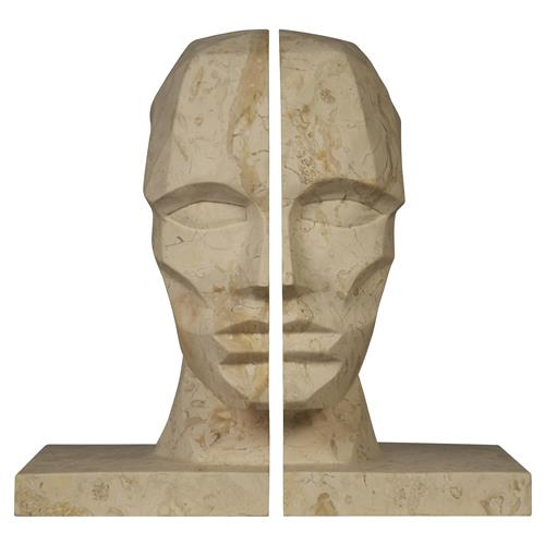 Noir Face Global Bazaar Marble Face Bookends | Kathy Kuo Home
