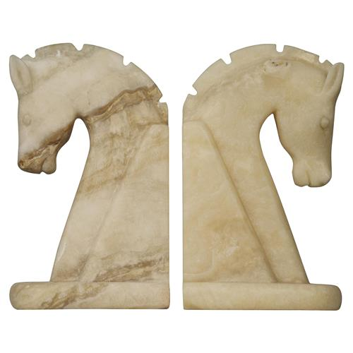 Bente Solid White Cream Marble Facing Horse Bookends | Kathy Kuo Home