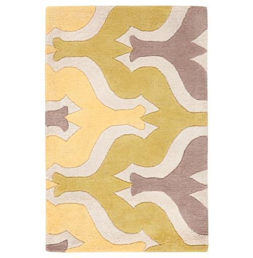 Grey Yellow Lime Global Bazaar Graphic Modern Hand Tufted Wool Rug - 2x3 | Kathy Kuo Home