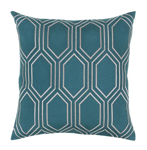 Sylvia Hollywood Regency Linen Down Teal Pillow - 18x18 | Kathy Kuo Home
