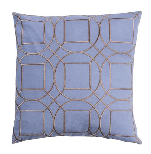 Goldie Hollywood Regency Linen Down Light Blue Pillow - 22x22 | Kathy Kuo Home