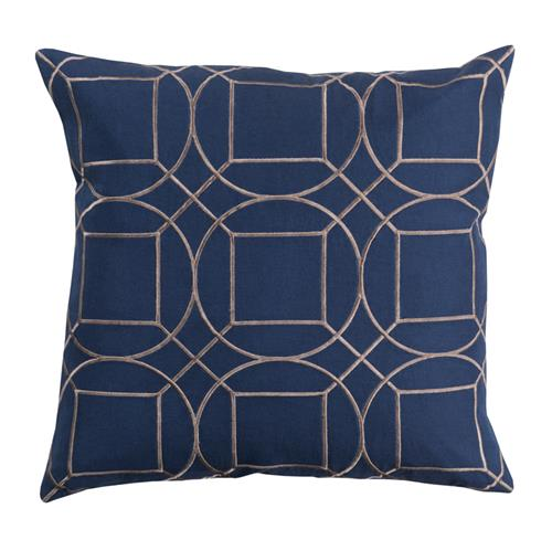 Goldie Hollywood Regency Linen Down Navy Pillow - 22x22 | Kathy Kuo Home