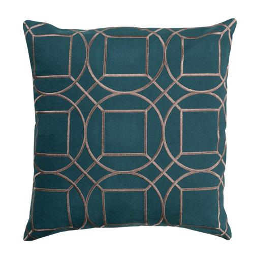 Goldie Hollywood Regency Linen Down Teal Pillow - 22x22 | Kathy Kuo Home
