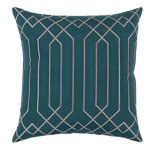 Jillian Hollywood Regency Linen Down Teal Pillow - 18x18 | Kathy Kuo Home