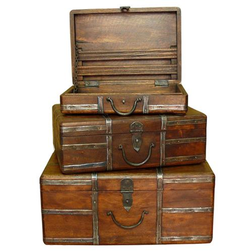 Amir Wood and Iron Rustic Vintage Travel Trunks | Kathy Kuo Home
