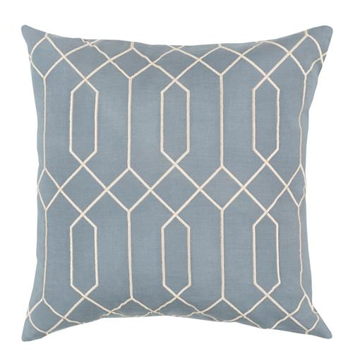 Kylie Hollywood Regency Linen Down Light Blue Pillow - 20x20 | Kathy Kuo Home
