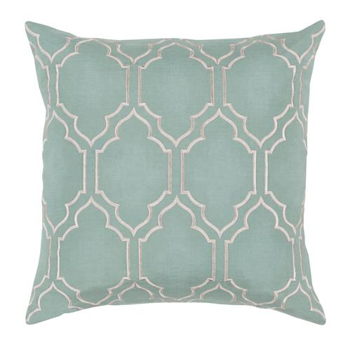 Keira Hollywood Regency Linen Down Light Teal Pillow - 18x18 | Kathy Kuo Home