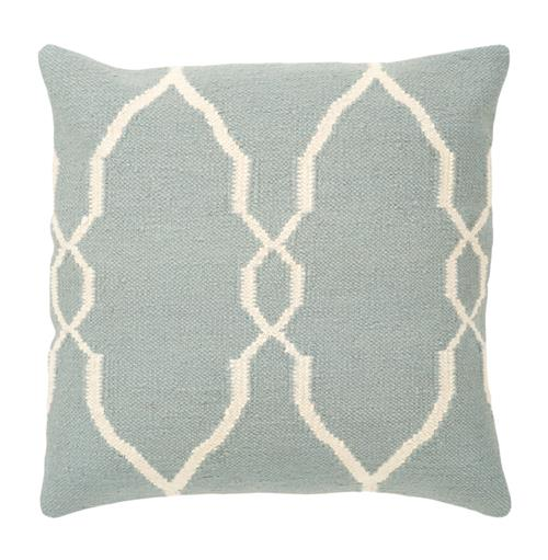 Bodie Rustic Lodge Wool Cotton Down Light Teal Pillow - 18x18 | Kathy Kuo Home