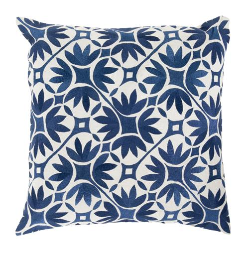 Dades Global Bazaar Cotton Down Navy Tile Pillow - 18x18 | Kathy Kuo Home
