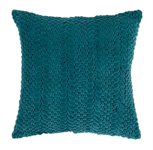Edie Hollywood Regency Cotton Velvet Down Teal Pillow - 18x18 | Kathy Kuo Home