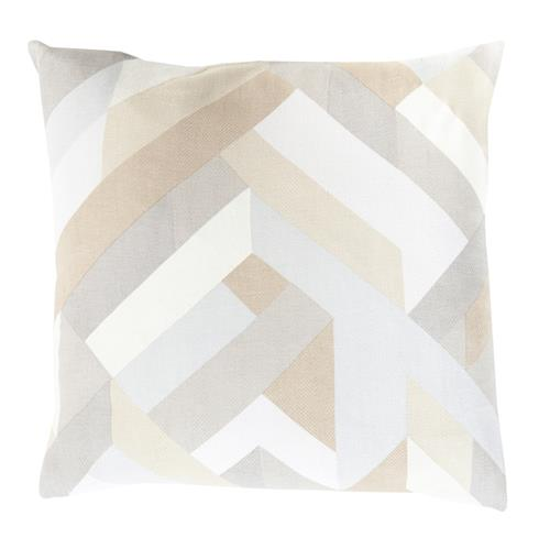 Clovis Coastal Beach Cotton Down Grey Beige Graphic Pillow - 18x18 | Kathy Kuo Home