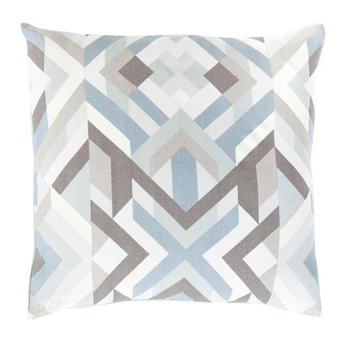 Doral Coastal Beach Cotton Down Blue Brown Graphic Pillow - 18x18 | Kathy Kuo Home
