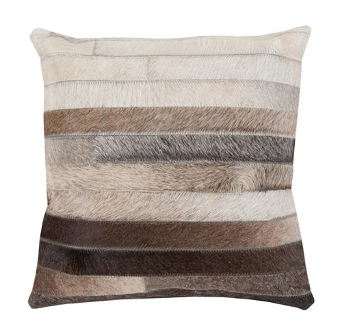 Amos Rustic Lodge Stripe Hair on Hide Pillow - 18x18 | Kathy Kuo Home