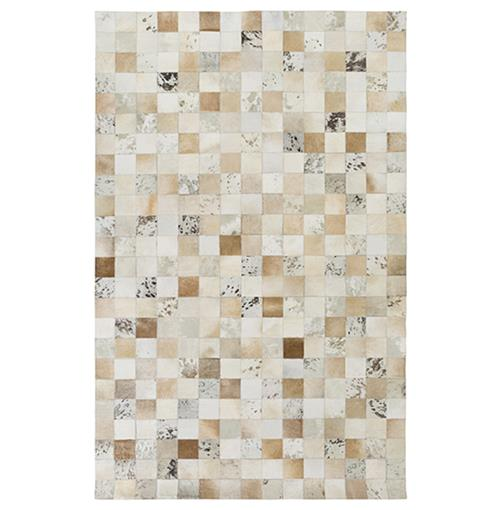 Tetovo Global Bazaar Checkered Beige Cream Cowhide Rug - 2x3 | Kathy Kuo Home