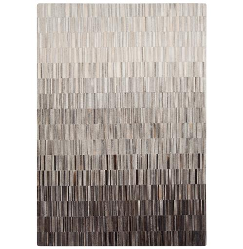 Resham Global Bazaar Vertical Tile Grey Brown Ombre Cowhide Rug - 2x3 | Kathy Kuo Home