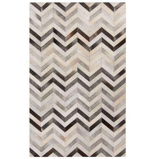 Mumbai Global Bazaar Chevron Grey Ivory Cowhide Rug - 2x3 | Kathy Kuo Home