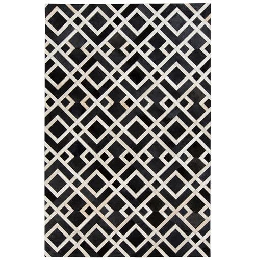 Narela Global Bazaar Diamond Black Ivory Cowhide Rug - 2x3 | Kathy Kuo Home
