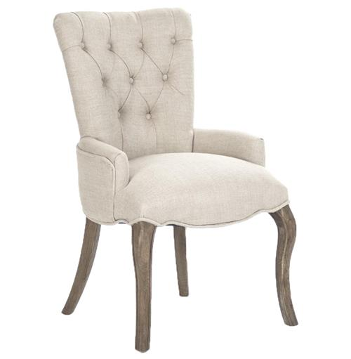Iris Natural Linen Reclaimed Oak Tufted Vanity Dining Chair with Ring | Kathy Kuo Home